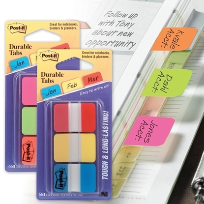 Picture of Post-It Durable Tabs 686-Pgo 25.4 x 38.1 mm Assorted Colours Pack of 66