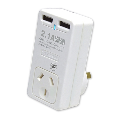 Picture of Sansai PAD-202USB Single Surge Adapter with 2 x USB 20 9.00 27.00 207.00 Charging Ports The 2-in-1 travel adapter. for AU/NZ