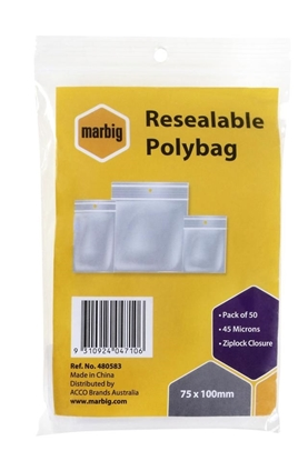 Picture of Marbig Resealable Polybag 75 x 100mm Ziplock Closure 45 Microns Pack 50