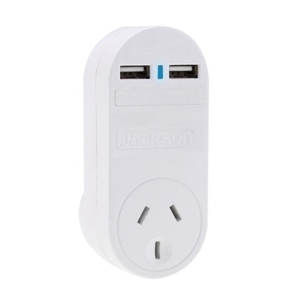 Picture of Jackson PT1USB3A Single Plug USB Wall Charger, 2x USB Charging Outlets
