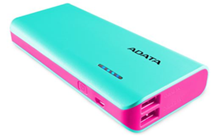 Picture of ADATA PT100 10000mAh Powerbank with Flashlight - Aqua/Pink